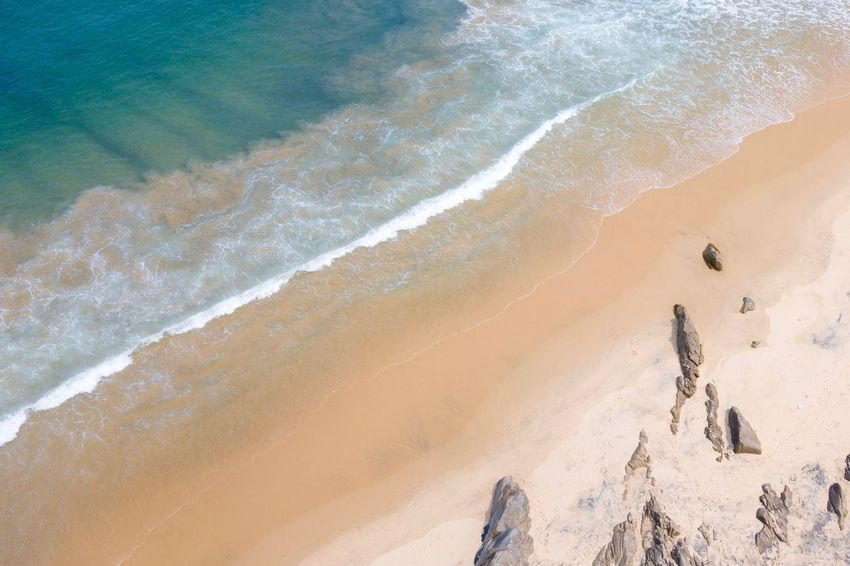 Land Sand Beach Sea Water Beauty In Nature Motion Surfing Wave Scenics - Nature Aquatic Sport Nature High Angle View Sand Dune Sport Sunlight