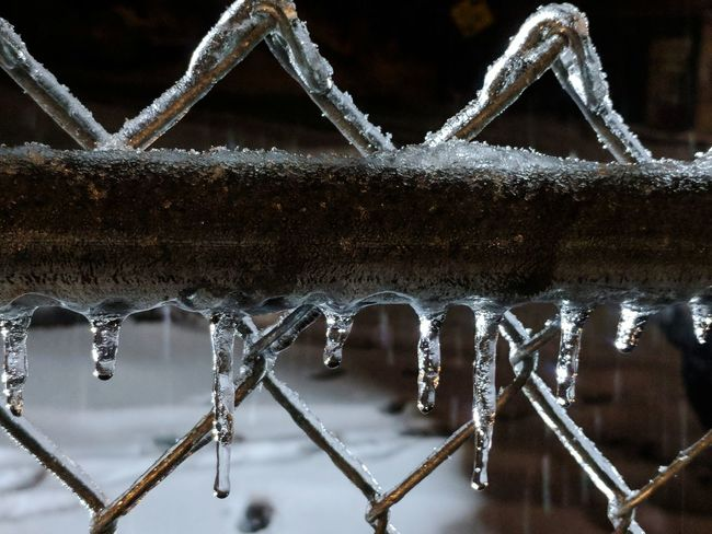 Night Chainlink Fence Icecicles Ice Drops Frost Snow Metal Wet Cold Text No People Full Frame Pattern Communication Close-up Outdoors