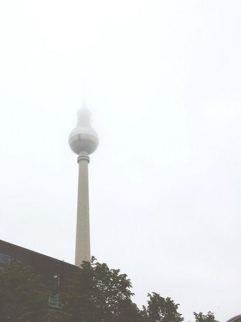 In the cloud. Architecture Alexanderplatz Alex Alexanderturm DDR Ostalgie Tower Global Communications Fog Foggy Cloud Grey Sad Melancholic