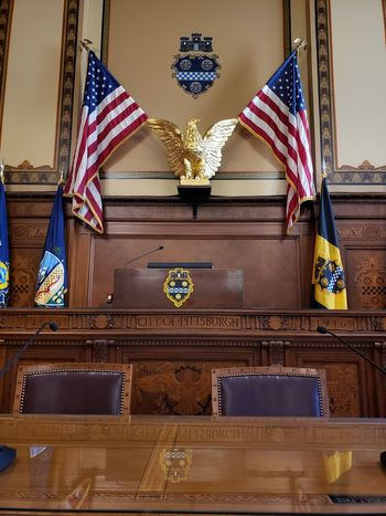 City Hall Pennsylvania Pittsburgh Council Chamber Politics And Government Stars And Stripes Patriotism Flag History Cultures Striped Architecture Symbolism Politics Courtroom Democracy National Flag
