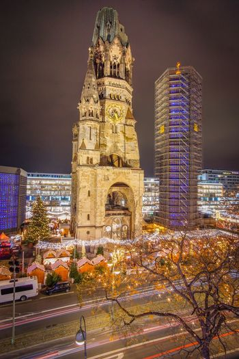 Berlin Gedächtniskirche Building Exterior Architecture Illuminated Built Structure Night Tower Outdoors City