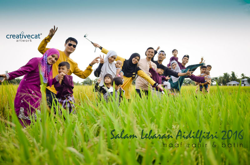 Hari Raya Festival at our village, we love Malaysia Green Color Clear Sky Field Rice Paddy Outdoors Family❤ Festival Malaysia Truly Asia