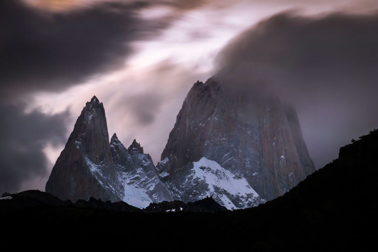 Fitz Roy Sunset Fitzroy Argentina Beauty In Nature Cloud - Sky Clouds And Sky El Chalten Last Light Long Exposure Mountain Mountain Range Nature Night No People Outdoors Scenics Sky Snow South America Sunset Tranquil Scene Tranquility EyeEmNewHere Perspectives On Nature This Is Latin America The Great Outdoors - 2018 EyeEm Awards Capture Tomorrow My Best Photo