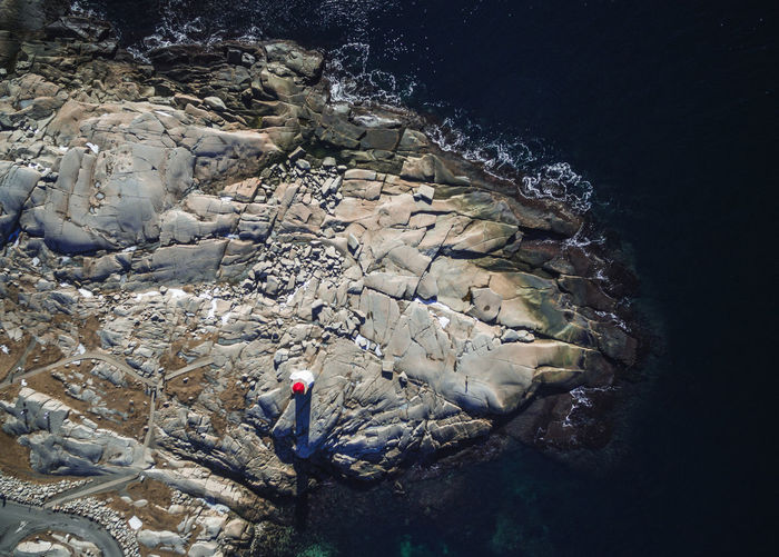 High angle view of man standing on rock