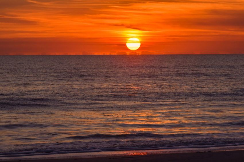 Another beautiful sunrise this morning! Sea Beautiful Day Sunrise And Clouds Beachphotography Sun Taking Photos Ocean Saltwater Day Nature Beauty In Nature Orange Color Scenics Sun Sky Water Horizon Over Water Wave Beach No People Outdoors Beach Photography Hello World Morning Sky Morning Sun