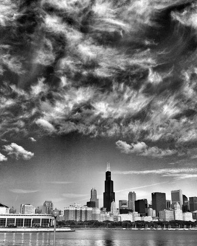 Chicago skyline, Lake Michigan Chicago Downtown Chicago Chicago Skyline Chicago Architecture Skyline Scenic EyeEm Best Shots - Landscape Landscape Landscape_Collection Eye4photography  Sheddaquarium America Chicago Illinois Cityscape Black And White Photography Black And White Black & White Landmark Landscape_photography Scenics Scenic Landscapes City Life Landscapes Lakefront Cityscapes