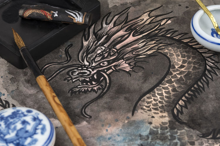 High angle view of dragon painting