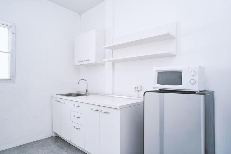 Interior of clean modern domestic kitchen