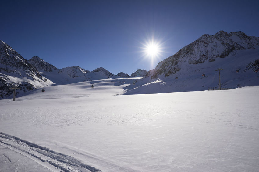 EyeEmNewHere Gletscher Pitztal Beauty In Nature Clear Sky Cold Temperature Day First Eyeem Photo Glacier Landscape Lens Flare Mountain Mountain Range No People Outdoors Scenics Sky Snow Snowcapped Mountain Sun Sunbeam Sunlight Tranquil Scene Tranquility Winter