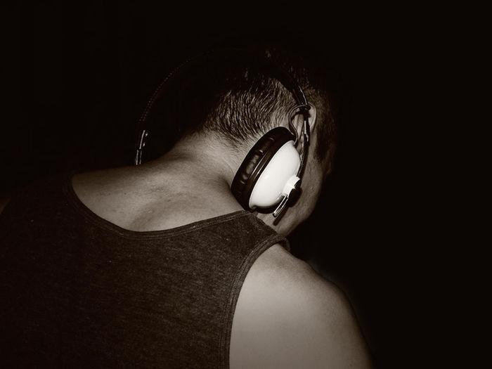 Human Body Part One Person Close-up Dj Music Night Life Night Blackandwhite Light And Shadow Hearphones EyeEmNewHere Neck Backhead