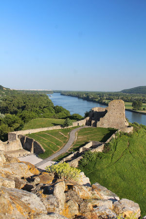 Ruins Ruins Of A Castle Slovakia Beauty In Nature Blue Clear Sky Copy Space Danube River Day Devin Castle Environment Green Color Landscape Medieval Fortress Nature No People Outdoors Plant Rock Scenics - Nature Sky Sunlight Tranquil Scene Tranquility Water The Great Outdoors - 2018 EyeEm Awards