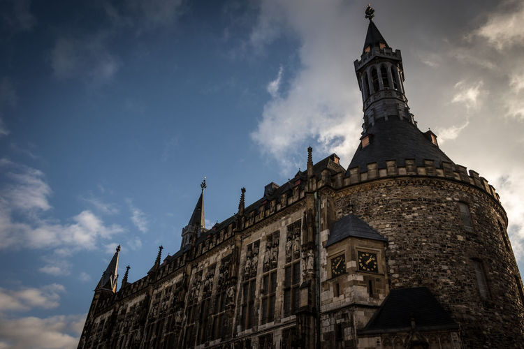 Aachen City Hall Aachen Germany Deutschland Architecture Building Exterior Sky Built Structure Low Angle View Cloud - Sky Building The Past History Spirituality Travel Destinations No People Day Outdoors
