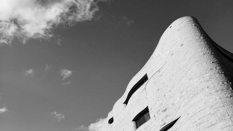 Let's try this in black and white. Museum Wall Blackandwhite Black And White Blackandwhite Photography Low Angle View Building Building Exterior Architecture Architecture_collection City Triangle Shape Sky Close-up Architecture Exterior Tall - High Historic The Architect - 2019 EyeEm Awards