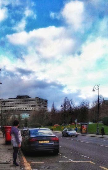 Cloud - Sky Car Sky Transportation Mode Of Transport Streets Of Glasgow Waiting For The Bus One Woman Only Real People
