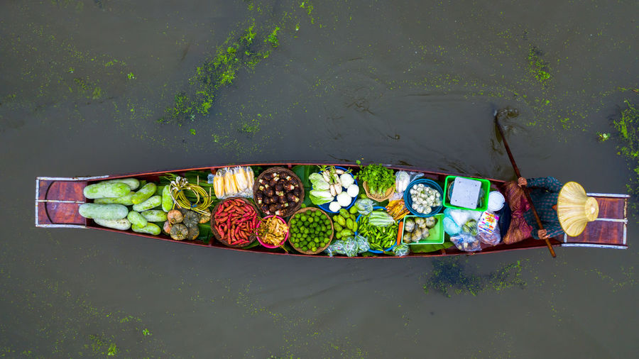 High angle view of multi colored fruits on water