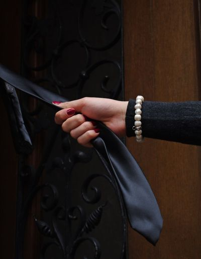 Black Clothes Casual Clothing Erotic_dreams Erotic_photo Hand Chain Hand Model Girl Holding No Person Open Doorway Person Red Nails Tie