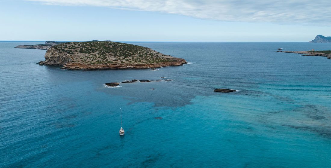 Beautiful Nature Drone  From Above  Ibiza Lost In The Landscape Panoramic SPAIN Aerial Aero Blue Bluewater Boat Cliff Day Dronephotography High Angle View Hill Horizon Landscape Mountain Nature Rock - Object Sea Sea And Sky Water