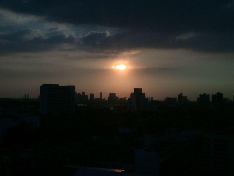 Sunset on city