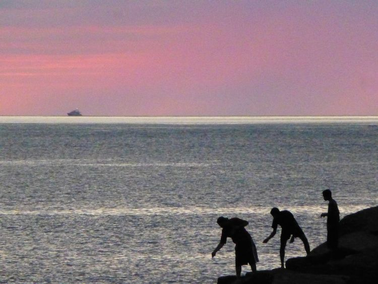Puerto Vallarta Mexico Sunset Sunset_collection Sunset Silhouettes Fishing Pink Pink, Pink, Pink Pink Sunset Seascape Seascapes Seascape Photography Fishing Time Sunset Fisherman At The End Of The Day Silhouette Silhouettes