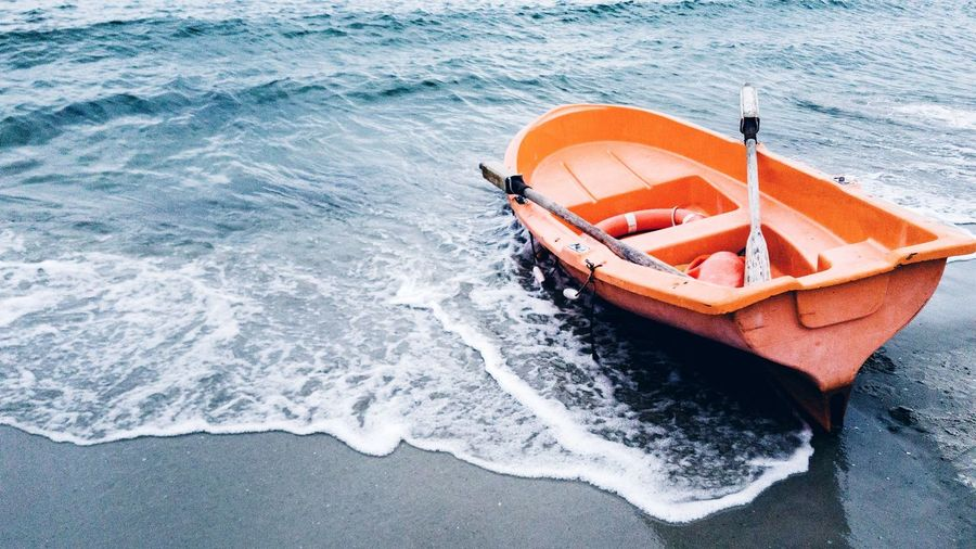 High angle view of boat on beach