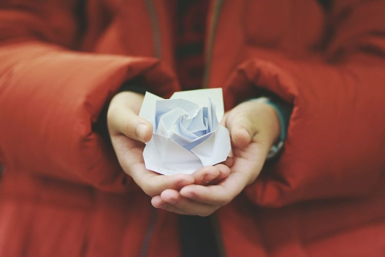 Midsection of person holding paper flower