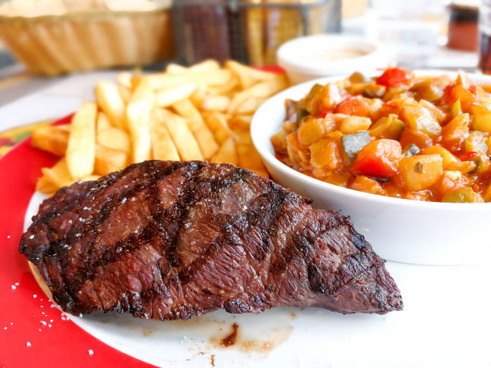 Close-up Day DIP Food Food And Drink French Fries Freshness Indoors  Meat No People Plate Prepared Potato Ready-to-eat Rib Serving Size Steak