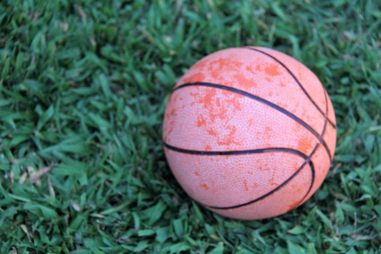 Close-up of basketball on field