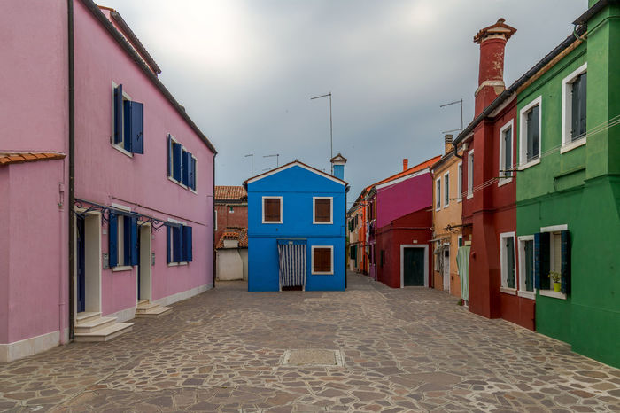 Architecture Building Exterior Built Structure Burano Coloured Houses Day Houses Italy Multi Colored No People Outdoors Sky Street
