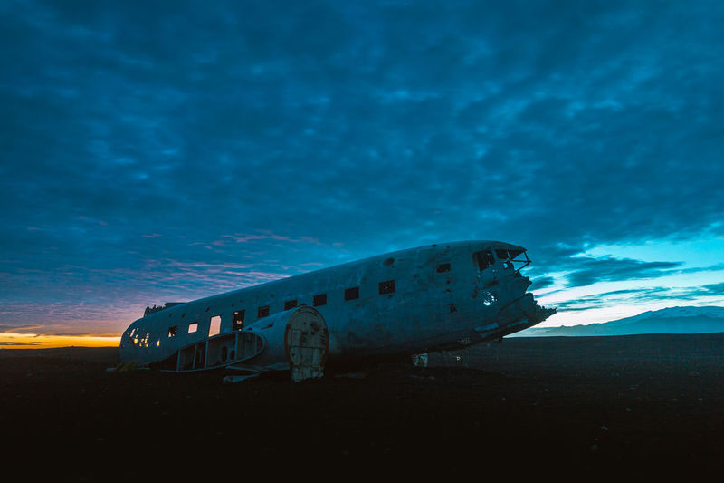 Beach Bomb Cloud - Sky Crash Destruction History Iceland Military Nautical Vessel Night No People Outdoors Travel Destinations War