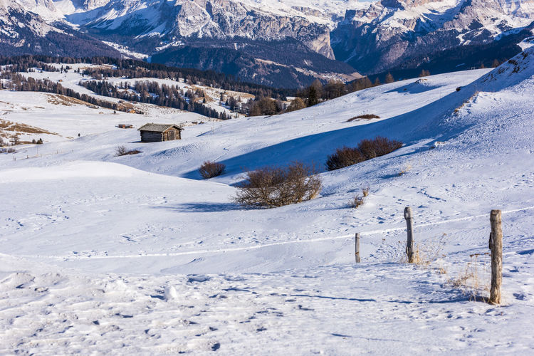 Scenic view of snow covered landscape