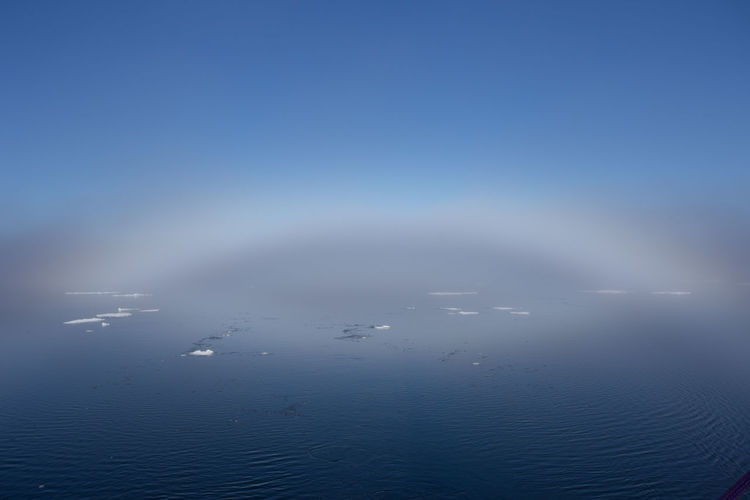 A fog bow in the Arctic Ocean off Svalbard Arctic Ocean Calm Ice Floe Weather Beauty In Nature Blue Cloud - Sky Copy Space Day Fog Fog Bow Horizon Horizon Over Water Iceberg Idyllic Meteorology Nature No People Outdoors Scenics - Nature Sea Sky Tranquil Scene Tranquility Water