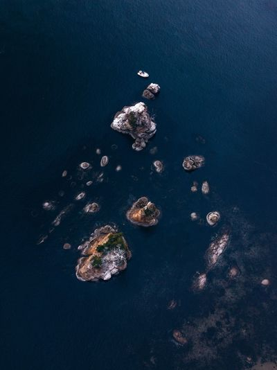 High angle view of sea stacks off the oregon coast
