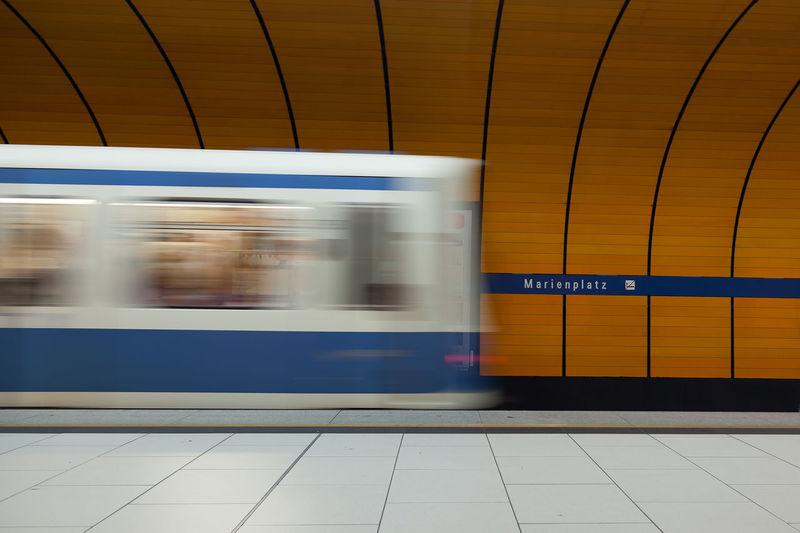 Marienplatz Station Metro Station Metro Train Train München Marienplatz Motion Blurred Motion Speed Train - Vehicle Public Transportation Subway Station Subway Train