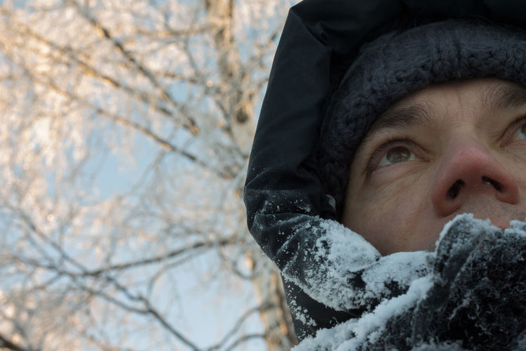 Minus 24 Celsius Adult Close-up Cold Temperature Day Environment Headshot Human Body Part Nature One Person Outdoors People Portrait Self Portrait Snow Tree Warm Clothing Winter
