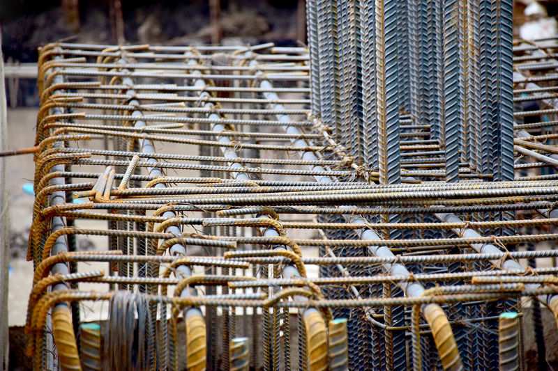 Close-up of metal frame on construction site