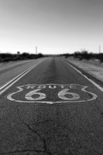 California Road Route 66 USA USAtrip Black And White Blackandwhite Photography Clear Sky Close-up Day Historic Mother Road No People Number Outdoors Road Road Sign Route 66 Sign Sky Speed Limit Sign Transportation