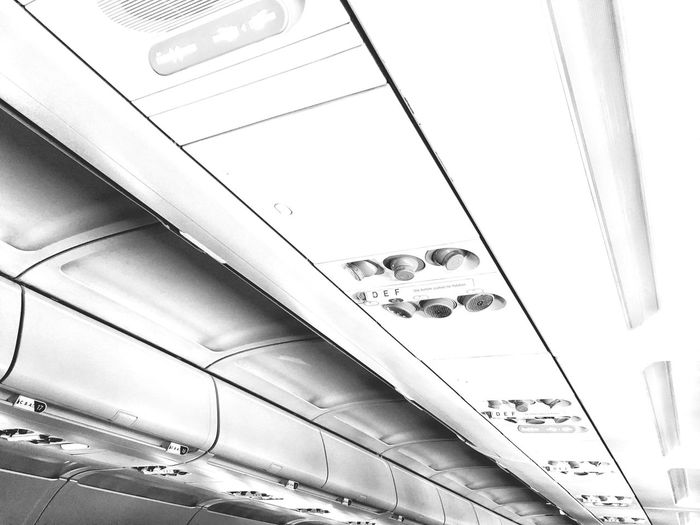 On board Travel Photography Lined Up In A Row Exit Sign Repetitions No People Empty Places Indoors  Transportation Architecture Aircraft