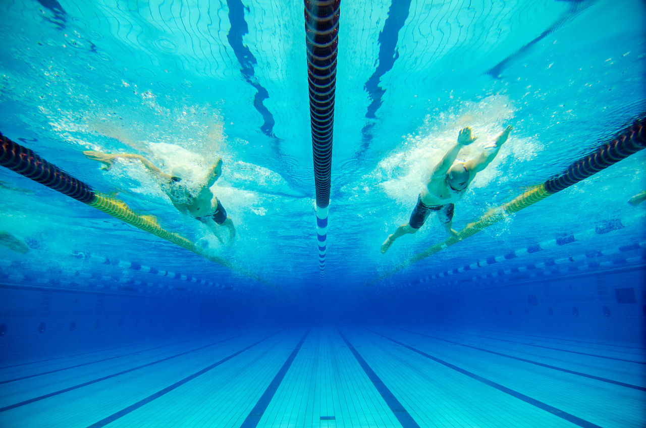 swimming pool, swimming lane marker, sport, underwater, blue, outdoors, water, swimming, day, nature, no people, close-up