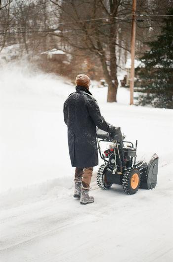 Rear view of man on snowy field