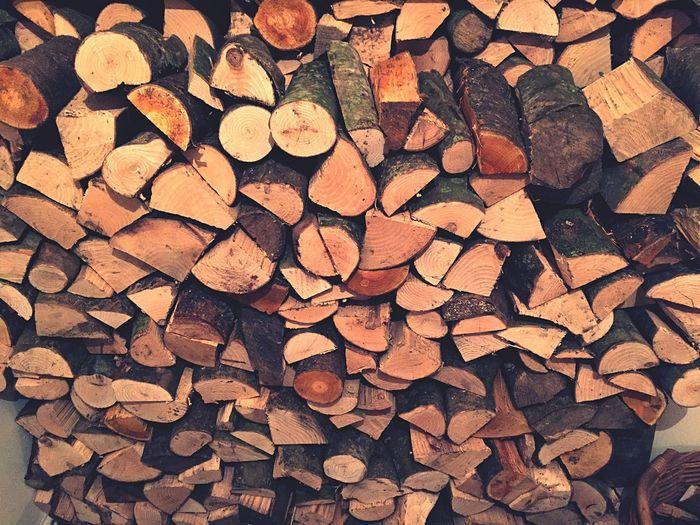 High angle view of logs