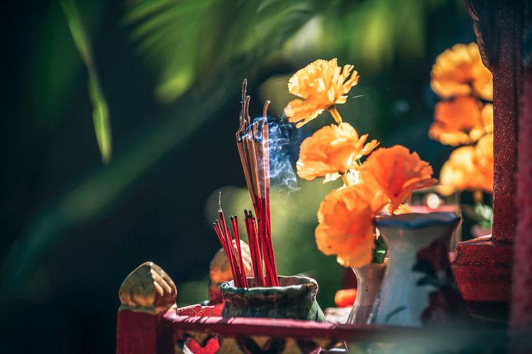 Close-Up Of Incense Sticks Burning Outdoors