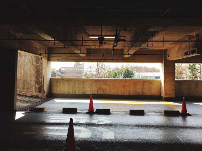 Traffic cones in empty parking lot
