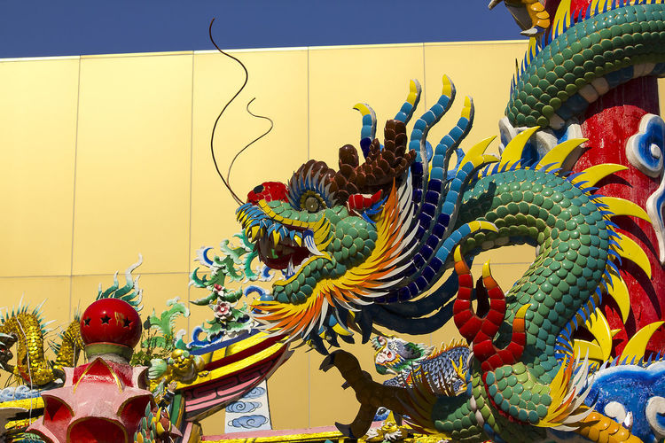 Dragon statue in Chinese temple Chinese Dragon Statue Dragon In Chinese Temple Animal Representation Art And Craft Belief Chinese Dragon Craft Creativity Dragon Dragon Statue Dragon Statues Festival No People Ornate Religion Representation Sculpture Statue