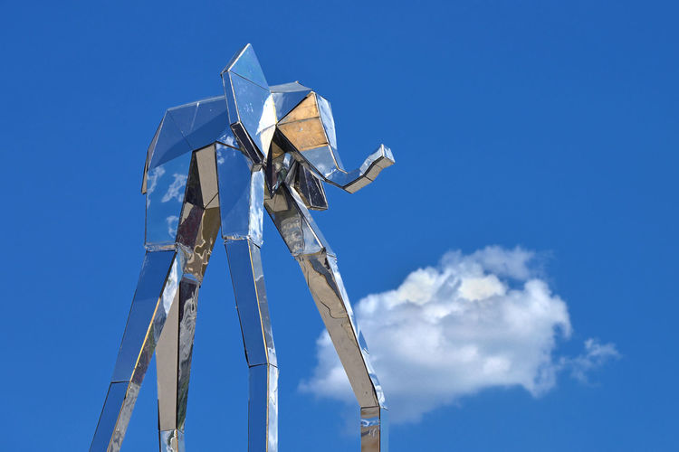 Sky Elephant Sky Moscow Blue Cloud Day Outdoors Europe Russia Elephant Modern Art Metal Installation Metallic No People Moscow, Russia Low Angle View RU643_MOSCOW_AK RU643_RUSSIA_AK