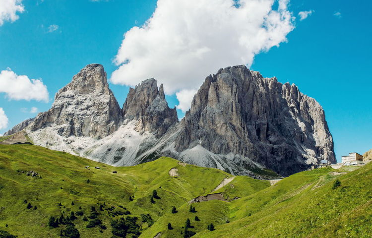 Sassolungo. Tranquil Scene Sky Beauty In Nature Scenics Mountain Landscape Rock - Object Non-urban Scene Rock Formation Cloud Mountain Peak Val Di Fassa Sassolungo Dolomiti Italy Trentino Alto Adige Trentino  Passo Rolle