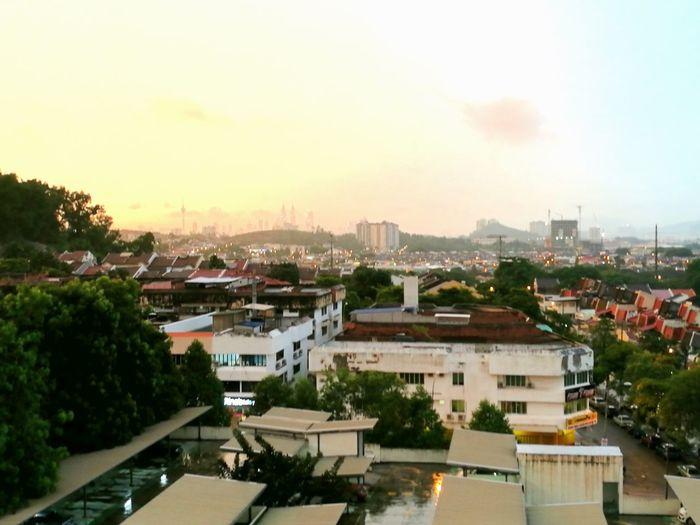 Sunset sky after rain Cityscape