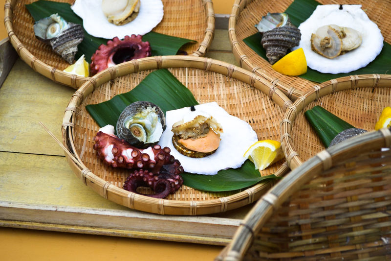 Bamboo Basket Day Food Food And Drink Freshness Healthy Eating High Angle View Japanese Food Japanese Style No People Octopus Plate Ready-to-eat Seafood Shell