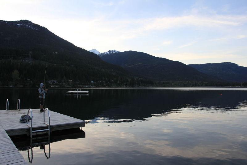 Fishing Water Mountain Mountain Range Whistler Lakeview Lake Sunset Blue Sky Nature Grey