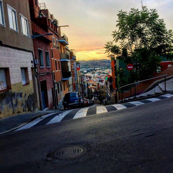 Street Sunset Barcelona Bus Colors