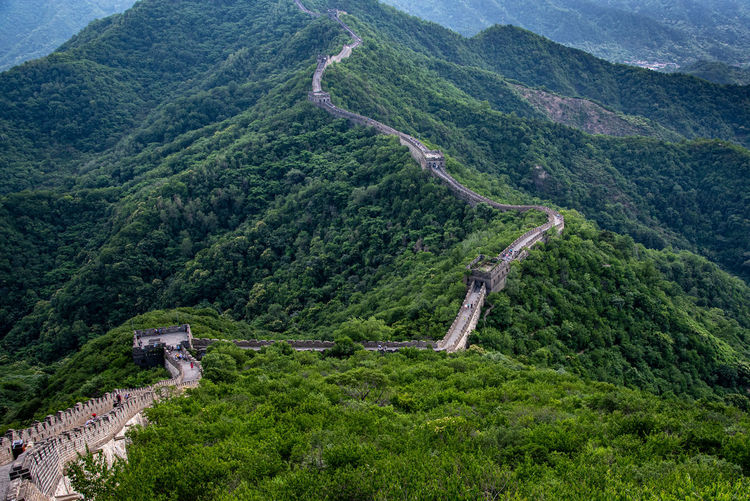 Tourist people walking at the famous great wall of china  at mutianyu section in china